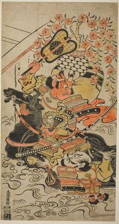 Torii Kiyonobu I Japanese A Battle In Mid Stream C O Oban Tan E X Cm 11