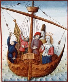 Illuminated Manuscript The Romance of Tristan: Tristan and Isolde Embark from Ireland to Cornwall, England