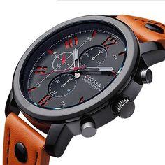 Men Watch Sport 30M Waterproof Fashion Wristwatch | Genuine Leather Elegant Watches, Stylish Watches, Beautiful Watches, Cool Watches, Watches For Men, Popular Watches, Leather Fashion, Mens Fashion, Top Luxury Brands