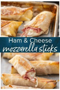 This Baked Cheese Sticks recipe is filled with delicious Ham Mozzarella Cheese. These Homemade Mozzarella Cheese Sticks are healthier than the traditional fried version. These Ham and Cheese Sticks are a snack you can feel great about feeding your family. Wallpaper Food, Baking Wallpaper, Yummy Snacks, Yummy Food, Savory Snacks, Healthy Food, Lunch Snacks, Food For Lunch, Healthy Snack Recipes