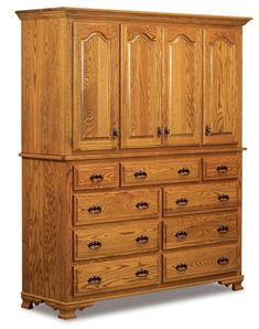 Amish Hoosier Heritage Two Piece Mule Chest Maximum storage in fine wood. Several wood options to choose from Nine drawers, four doors and six adjustable shelves. Handcrafted in Amish country. #mulechest #bedroomchest #bedroomstorage #largebedroomchest