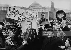 People Celebrating The Succes Of The Mission Voskhod Ii In Moscow On The Sixties. March, 18, 1965.