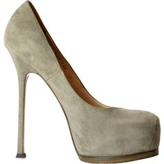 Pre-owned Yves Saint Laurent Grey Suede Heels (515 CAD) ❤ liked on Polyvore featuring shoes, pumps, grey, women shoes heels, grey pumps, gray pumps, gray platform pumps, suede platform pumps and grey shoes