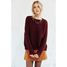 BDG Warm Me Up Pullover Sweater ($79) ❤ liked on Polyvore featuring tops, sweaters, maroon, boyfriend sweater, maroon sweater, maroon top, pullover sweater and bdg sweater