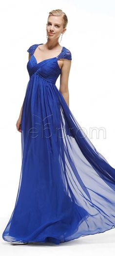 Cap Sleeves Royal Blue Long Prom Dresses with Empire Waist Maternity Bridesmaid dresses Evening dresses for pregnant