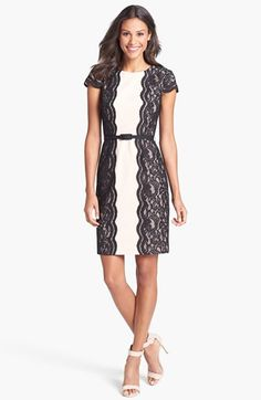 Ivy & Blu for Maggy Boutique Lace Trim Ponte Knit Sheath (Regular & Petite) available at #Nordstrom
