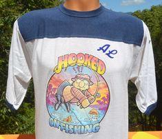 70s vintage ringer t-shirt HOOKED on FISHING al by skippyhaha
