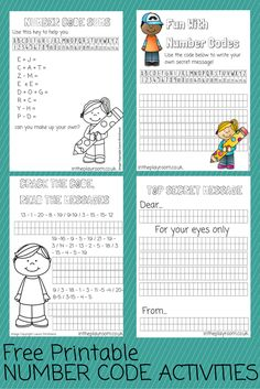 Number code printables, a fun way to practice math skills, and use numbers to send secret messages. Math Activities For Kids, Printable Math Worksheets, Fun Math Games, Math For Kids, Worksheets For Kids, Math Resources, Maths Fun, Escape Room, Math Lessons