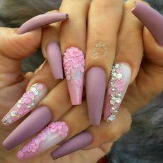 54 Valentines Day Nail Design and Nail Art Ideas - Amerisha Beauty Pink Mauve Purple Nail Color Valentine's Day Nail Designs, Pretty Nail Designs, Acrylic Nail Designs, Fancy Nails Designs, Diamond Nail Art, Diamond Nail Designs, Manicure E Pedicure, Super Nails, Nagel Gel