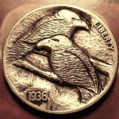 Eric Truitt - Vultures Hobo Nickel, Coin Art, Coin Collecting, Art Forms, Sculpture Art, Buffalo, Cactus, Coins, Birds