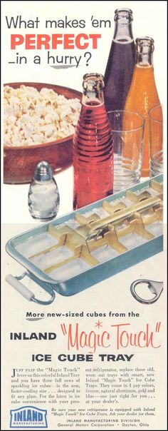INLAND 'MAGIC TOUCH' ICE CUBE TRAYS SATURDAY EVENING POST - 03/26/1955 - p. 140