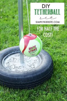Backyard fun:  Make your own DIY Tetherball set for half the cost! | simplykierste.com