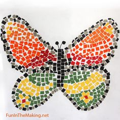 Mosaic after breakfast!  Probably have all the supplies you will need for this project right in your recycle bin. Cereal boxes and salvaged note book covers become art when cut into pieces and cleverly arranged