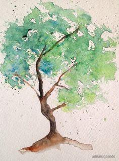 Copyright by Adriana Galindo - Árvore 3 / tree 3,  aquarela / watercolor 21 x 15 cm - 40 trees project By Adriana Galindo - drigalindo1@gmail.com