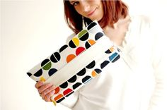 Colorful circle print bag  fold over clutch  by MirkaDesign, $32.00