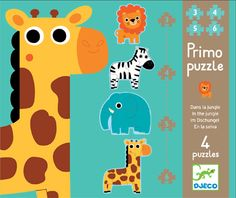 Djeco In the Jungle Primo Puzzle | Cow & Lizard toy store