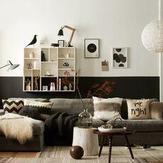 Woonkamer slaapkamer combinatie met zwarte muren | Pinterest ...