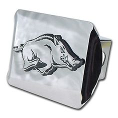 University of Arkansas Running Hog on Chrome Hitch Cover . Made in the USA. A step above in quality and appearance. Front plate 5 x 3.5 Fits standard 2 trailer hitch receivers.
