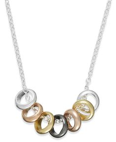 Studio Silver Multi-Tone Seven Ring Frontal Necklace in Sterling Silver
