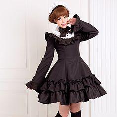 Long+Sleeve+Knee-length+Black+Cotton+Classic+School+Lolita+Dress+-+USD+$+69.99