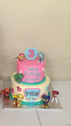"paw patrol birthday cake for girls ""Kinzli's 3rd Birthday""."