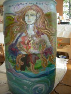 Painted rain barrel! Love it!!!!