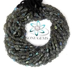 """5 Strand Finest Quality Natural Labradorite Smooth Oval Rondelle Beads Measure 4x6mm Jewelry Making Gemstone 13"""" Long Strand. by SONUGEMS on Etsy"""
