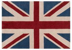 8' Round Union Jack Rug, Brick Red