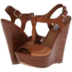 Steve Madden Bittles (Cognac Leather) Women's Wedge Shoes ($70) ❤ liked on