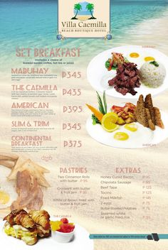 Enjoy our delicious items for Breakfast, Lunch and Dinner. From a small bite in the afternoon to a delightful culinary experience, during the evening at the beach. - See more at: http://www.villacaemilla.com/wine-dine/#sthash.w9pDNdtJ.dpuf