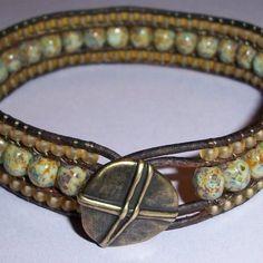 Triple Row Leather Bracelet   JewelryLessons.com