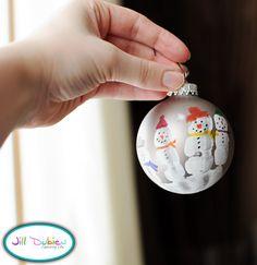 Meet the Dubiens: handprint snowman tree ornaments