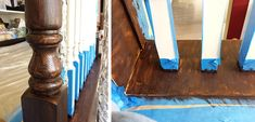 Staircase Makeover – What to Stain; What to Paint – Live Laugh Love to Craft Painted Stair Railings, Stair Banister, Bannister, Painted Stairs, Staircase Remodel, Staircase Makeover, Refinish Staircase, Stained Staircase, Stair Renovation
