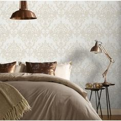 This beautiful Victorian damask wallpaper will add a stylish finishing touch to any room. The design features a distressed metallic damask on a matte, textured background for a contemporary feel. This high-quality vinyl wallpaper would look great whe Gold Removable Wallpaper, Metallic Wallpaper, Tapete Gold, Neutral Bedroom Decor, Bedroom Ideas, Milan, Modern Wallpaper Designs, Victorian Bedroom, Murphy Bed Plans