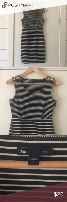 Gap - B&W Stripe Dress Gap - black and white stripe dress with gold buttons on top of collar bone. Zipper side; stretchy and comfortable. Worn just a few times. Great condition. Size 2 but stretchy... GAP Dresses