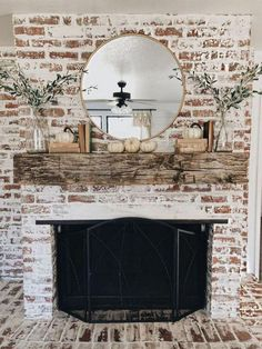 Try one of these 35 gorgeous natural brick fireplace ideas to complete your modern farmhouse or chic oceanfront / indoor living spaces on the coast. German Schmear- and White-Washed-Brick-Tutorials included. Refresh your tired, outdated fireplace Farmhouse Fireplace, Home Fireplace, Fireplace Design, Fireplace Ideas, Rustic Mantle, White Wash Brick Fireplace, Mantel Ideas, White Wash Brick Exterior, Fireplace Whitewash