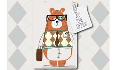 """Colección """"At the office"""" #toddlers by nariasat. #baby #prints #office #bears #geek #cuteworker #rhombus"""