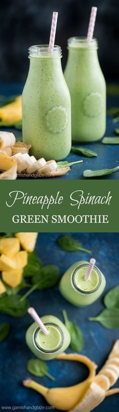 Start your day off with a delicious, refreshing, and healthy PINEAPPLE SPINACH GREEN SMOOTHIE! #smoothies #smoothierecipes #healthysmoothies #healthyrecipes