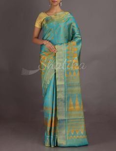 Dimple Blue And Mustard Spiking Temple #Ikat #PatolaSilkSaree