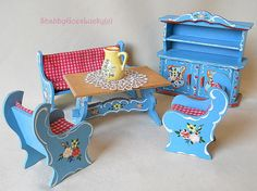 Dora Kuhn 1970s dollhouse furniture small scale German vintage Bavarian blue kitchen, hand painted cupboard, bench, table, 2 chairs    Here is a