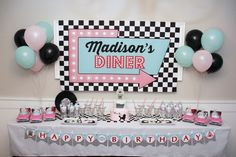 Diner Party Sign - Birthday Party Poster- Printable Sock Hop Party Backdrop Personalized B Diner Party Sign Birthday Party Poster Printable image 1 Birthday Party Images, 50th Birthday Party Decorations, Retro Birthday, 50th Party, Birthday Party Invitations, Birthday Parties, 1950s Party Decorations, Sock Hop Decorations, 15th Birthday Party Ideas