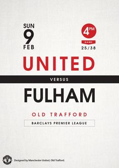 Manchester United vs Fulham, 9 February Designed by Manchester United Poster, Manchester United Football, Soccer Poster, Football Posters, Sports Posters, Fulham Fc, Football Tournament, Banners, Sports Graphic Design
