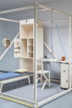 - Minimal Living Cube by Chmara.Rosinke for sale at Pamono Nomadic Furniture, Home Furniture, Furniture Design, Diy Bank, Interior Architecture, Interior Design, Cultural Architecture, Mobile Living, Minimal Living