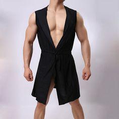f7dd9b2b11 Sexy Soft Breathable Fabric Mid Long Sleepwear Bathrobes Robes with Belt  for Men