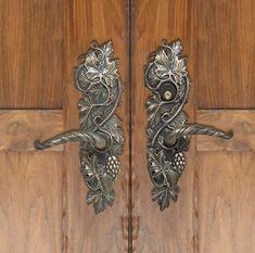 Elegant Vine Entry Way Lever Set Decorative Door Knobs, Unique Doors, Garden Gates,  Grape