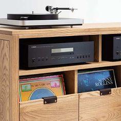 Vinyl Record Cabinet, Vinyl Record Storage, Vinyl Records, Cd Storage, Storage Cabinets, Stockage Record, Tv Entertainment Centers, Entertainment Products, Pallet Tv Stands