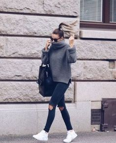 love this chunky oversized sweater with ripped jeans and sneakers