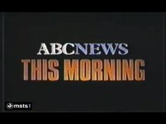 ABC News This Morning -1982 Title Card, Classic Image, Abc News, Broadway Shows, Logos, Tv, Logo, Television Set, Television