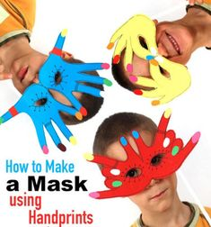 Simple handprint paper masks - fun kids craft idea
