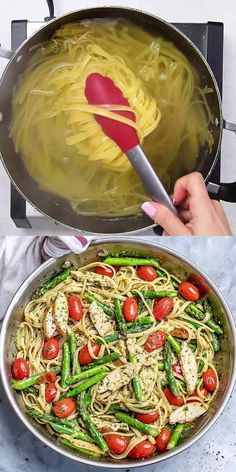 This Asparagus Pesto Chicken Pasta is an easy and delicious one-pot weeknight dinner recipe that the entire family will enjoy. Mexican Food Recipes, Vegetarian Recipes, Cooking Recipes, Healthy Recipes, Vegetarian Diets, Cooking Ideas, Meat Recipes, Easy Dinner Recipes, Easy Meals